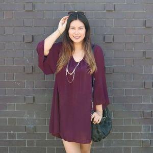 LUSH Whitney Bell Sleeve Shift Dress Plum Purple S